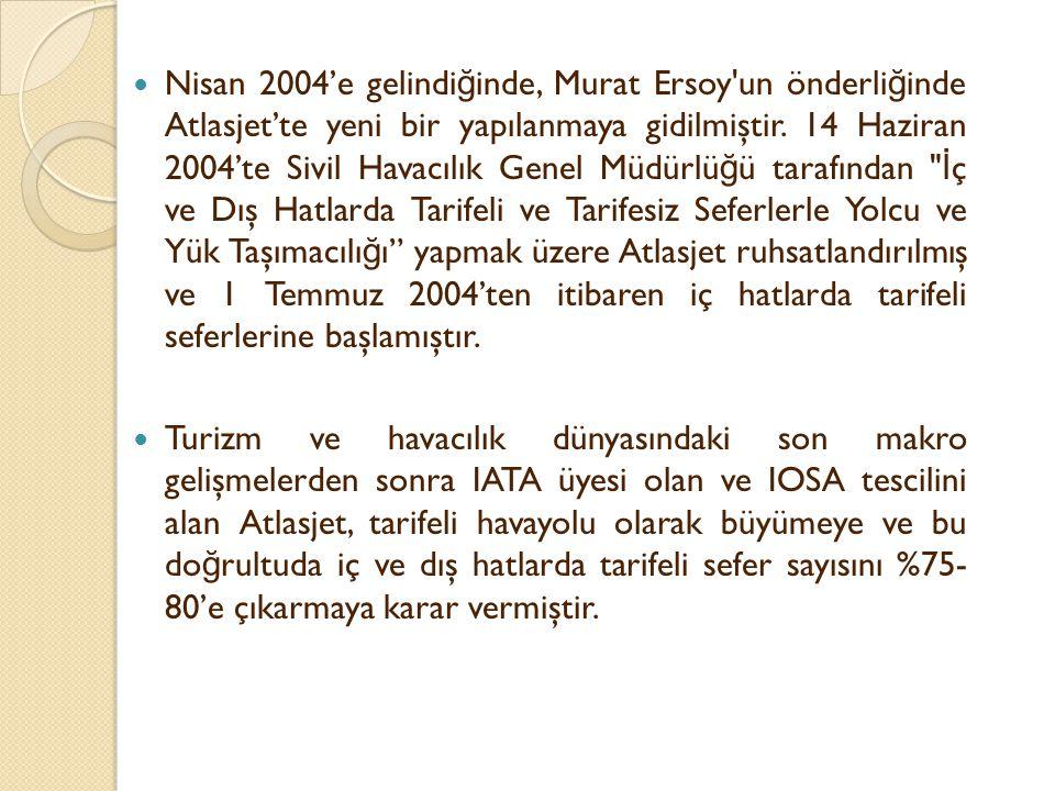 Nisan 2004'e gelindiğinde, Murat Ersoy un önderliğinde Atlasjet'te yeni bir yapılanmaya gidilmiştir. 14 Haziran 2004'te Sivil Havacılık Genel Müdürlüğü tarafından İç ve Dış Hatlarda Tarifeli ve Tarifesiz Seferlerle Yolcu ve Yük Taşımacılığı yapmak üzere Atlasjet ruhsatlandırılmış ve 1 Temmuz 2004'ten itibaren iç hatlarda tarifeli seferlerine başlamıştır.