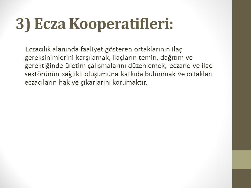 3) Ecza Kooperatifleri: