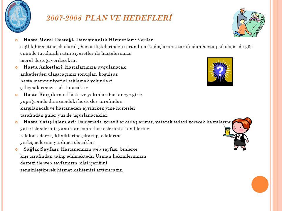 2007-2008 PLAN VE HEDEFLERİ Hasta Moral Desteği, Danışmanlık Hizmetleri: Verilen.