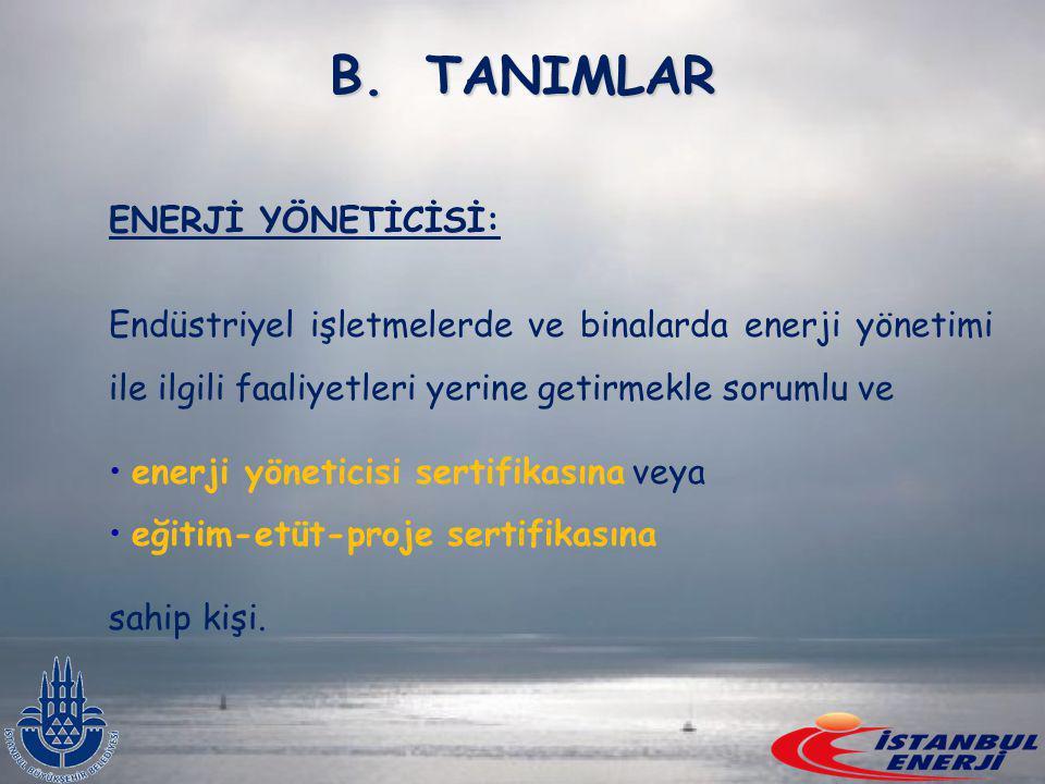 TANIMLAR ENERJİ YÖNETİCİSİ: