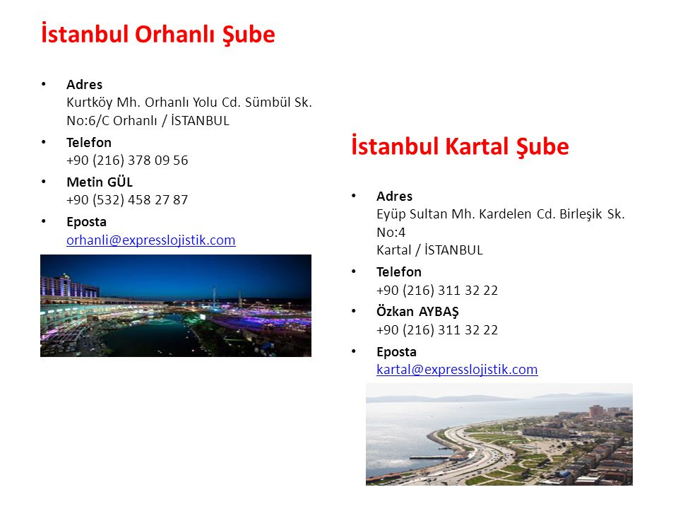 İstanbul Orhanlı Şube İstanbul Kartal Şube