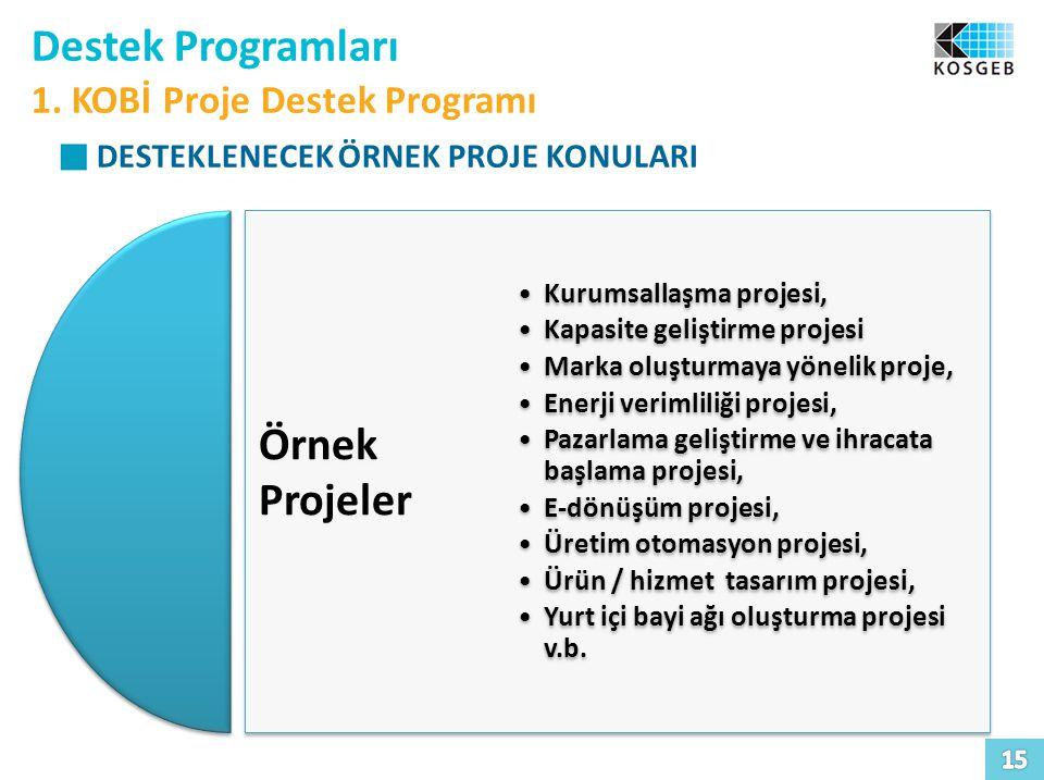 Destek Programları Örnek Projeler 1. KOBİ Proje Destek Programı