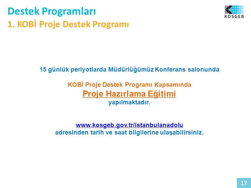 Destek Programları 1. KOBİ Proje Destek Programı