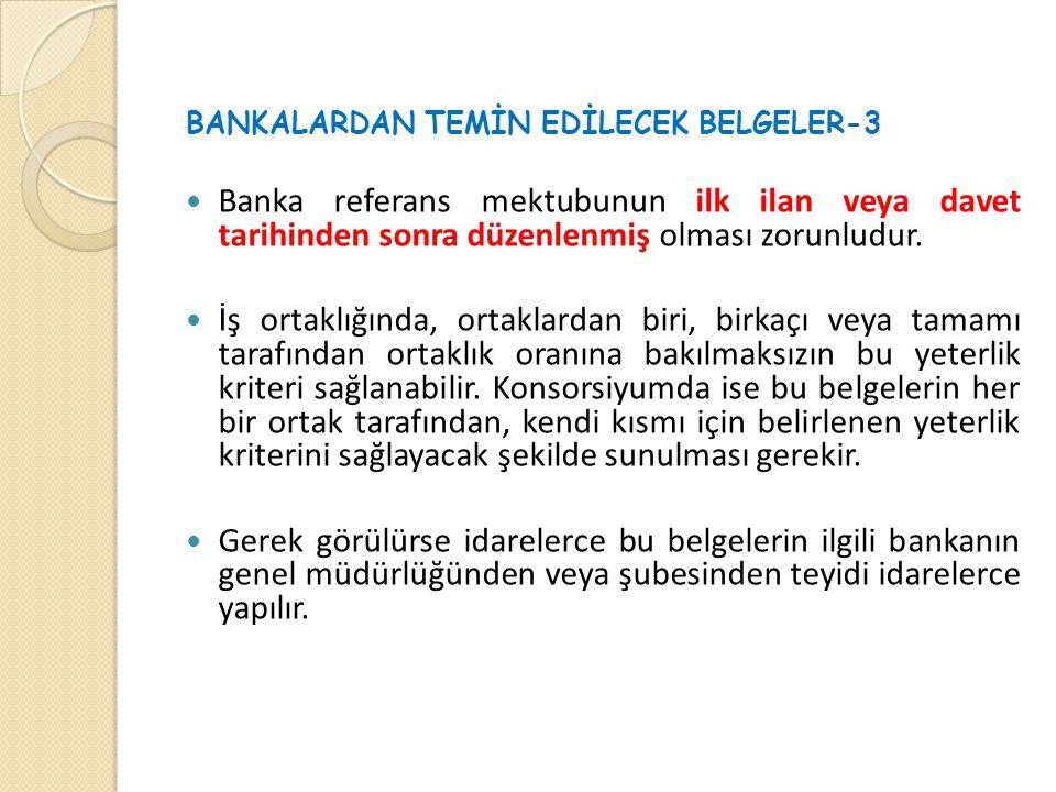 BANKALARDAN TEMİN EDİLECEK BELGELER-3