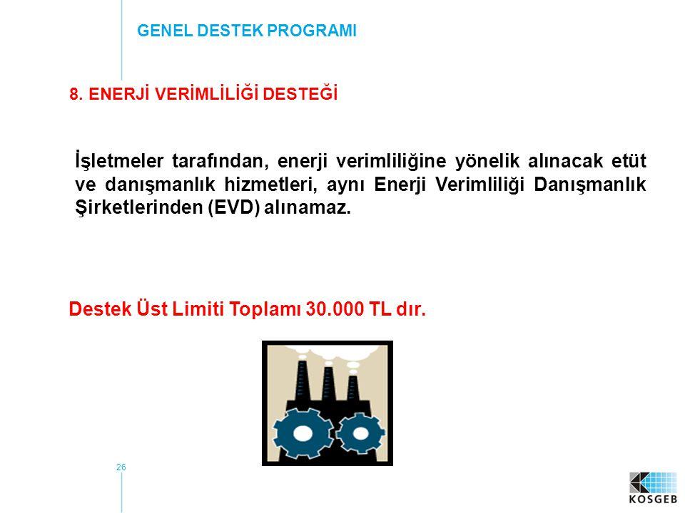 8. ENERJİ VERİMLİLİĞİ DESTEĞİ Destek Üst Limiti Toplamı 30.000 TL dır.
