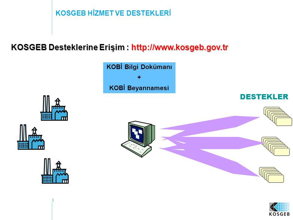 KOSGEB Desteklerine Erişim : http://www.kosgeb.gov.tr