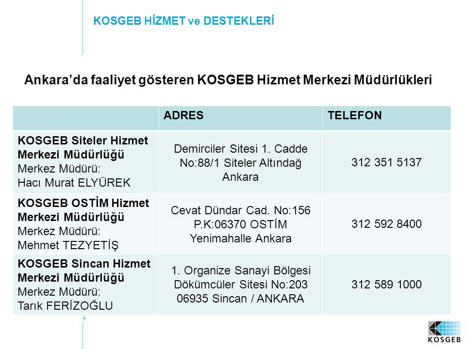 Ankara'da faaliyet gösteren KOSGEB Hizmet Merkezi Müdürlükleri