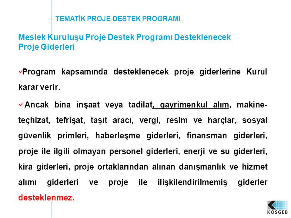 Meslek Kuruluşu Proje Destek Programı Desteklenecek Proje Giderleri