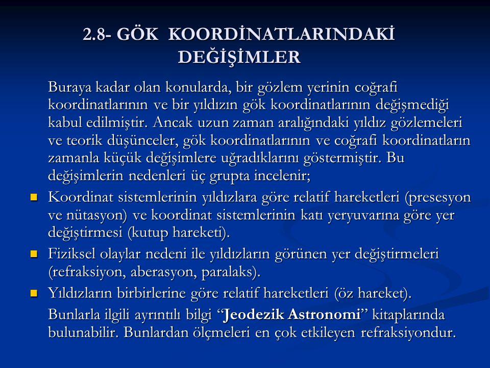 2.8- GÖK KOORDİNATLARINDAKİ DEĞİŞİMLER