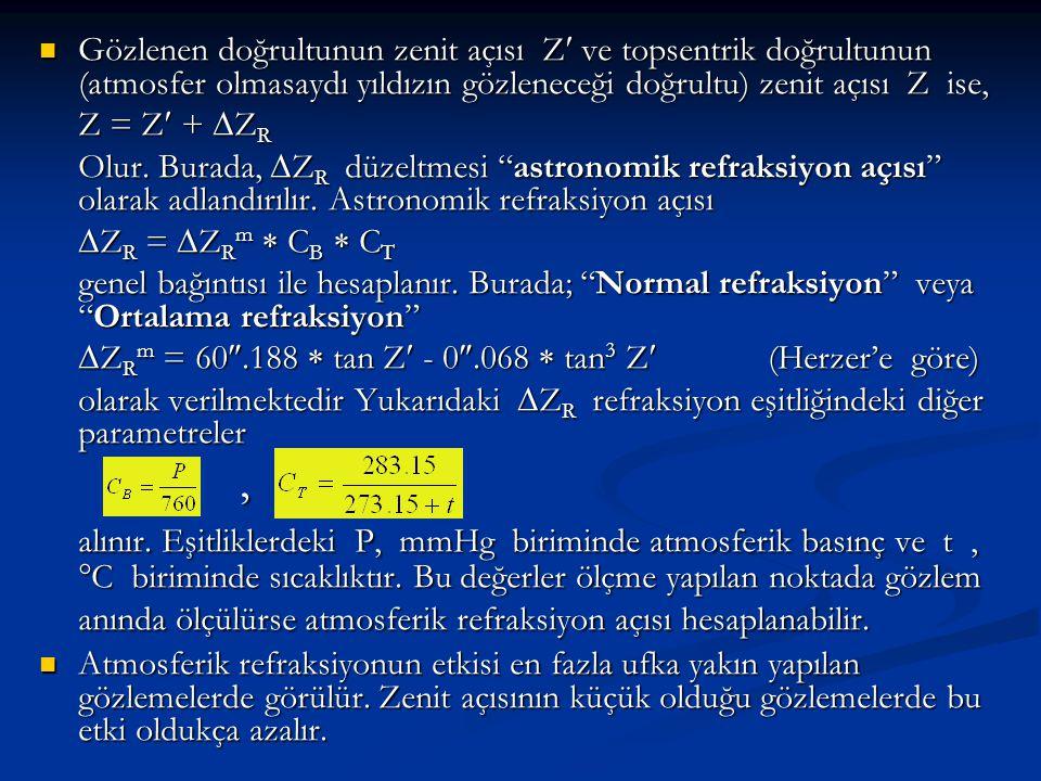 Gözlenen doğrultunun zenit açısı Z ve topsentrik doğrultunun (atmosfer olmasaydı yıldızın gözleneceği doğrultu) zenit açısı Z ise,