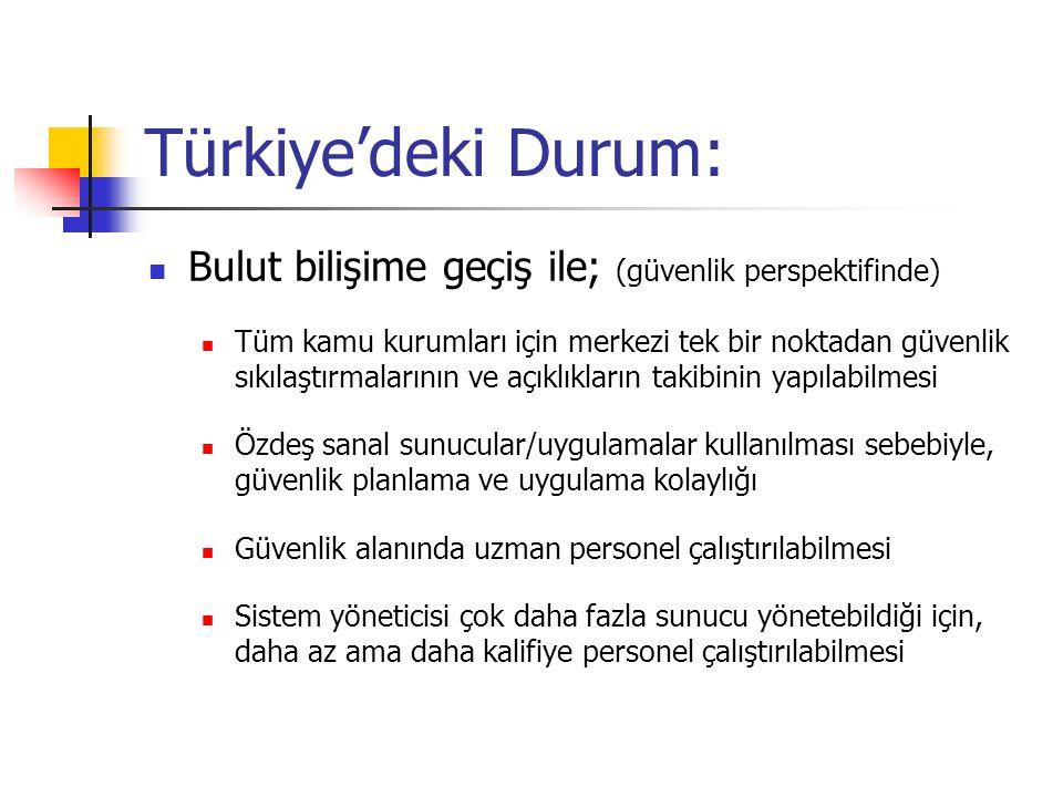 Türkiye'deki Durum: Bulut bilişime geçiş ile; (güvenlik perspektifinde)