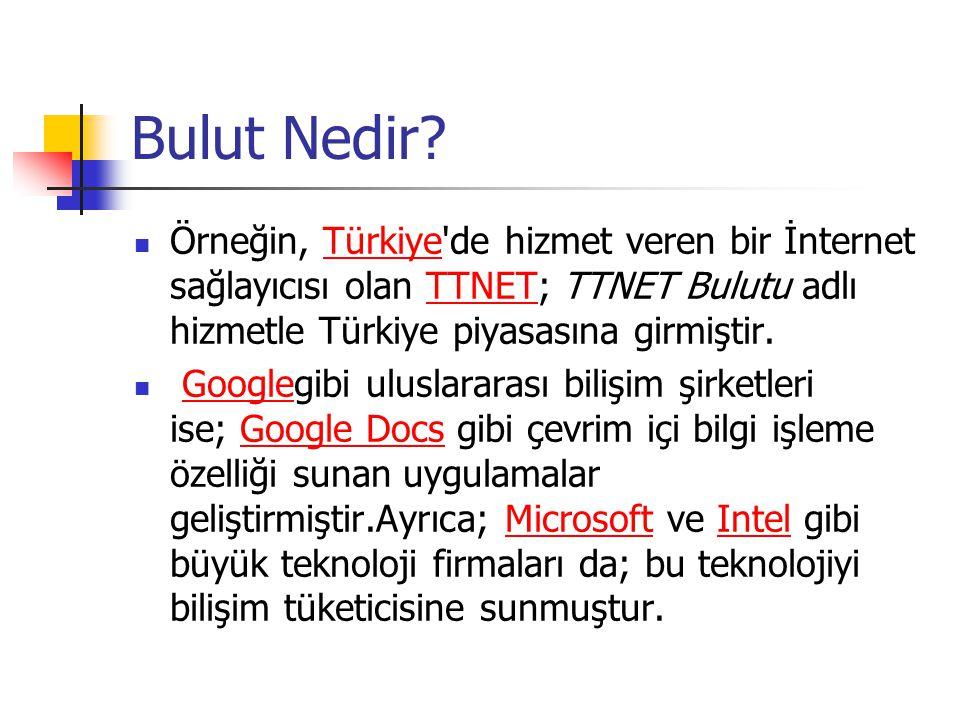 Bulut Nedir Örneğin, Türkiye de hizmet veren bir İnternet sağlayıcısı olan TTNET; TTNET Bulutu adlı hizmetle Türkiye piyasasına girmiştir.