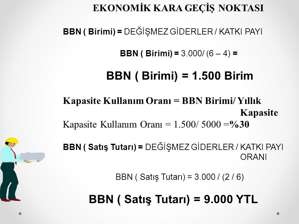 BBN ( Satış Tutarı) = 9.000 YTL