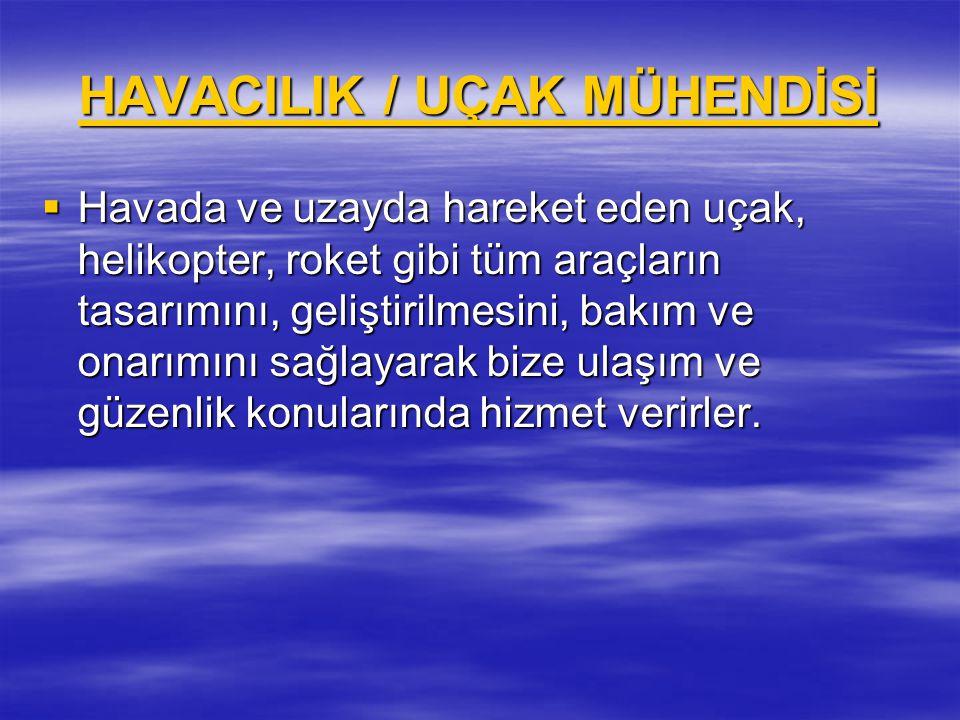 HAVACILIK / UÇAK MÜHENDİSİ