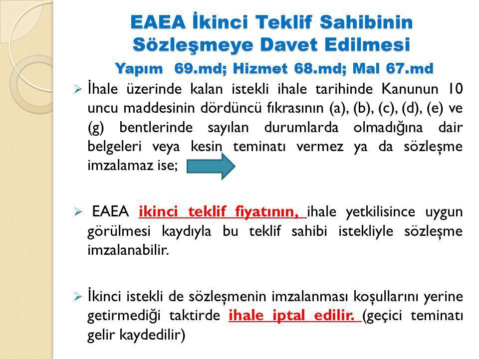 EAEA İkinci Teklif Sahibinin Sözleşmeye Davet Edilmesi Yapım 69