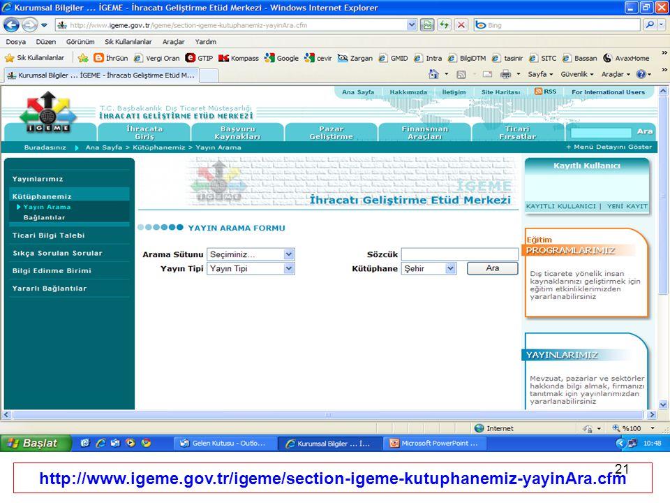 http://www. igeme. gov. tr/igeme/section-igeme-kutuphanemiz-yayinAra