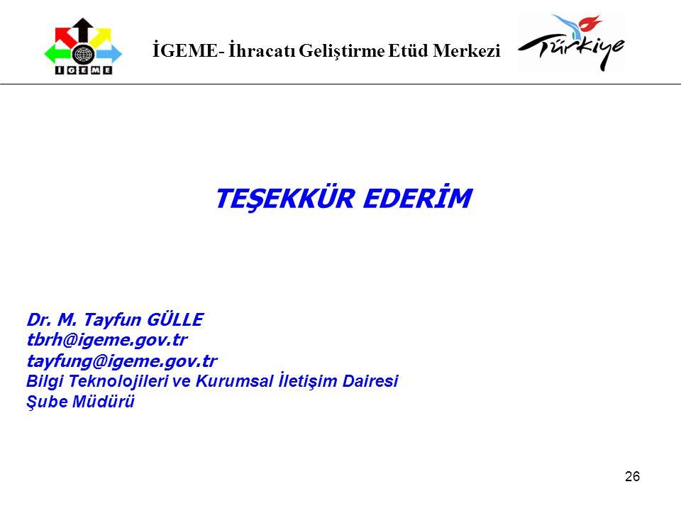 TEŞEKKÜR EDERİM Dr. M. Tayfun GÜLLE tbrh@igeme.gov.tr