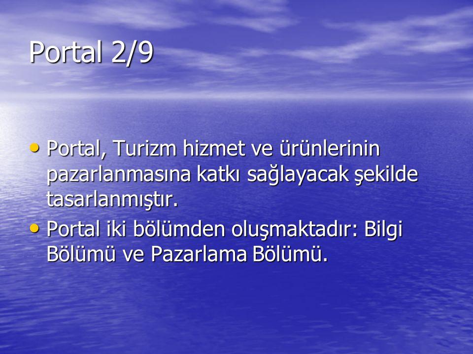 Portal 2/9 Portal, Turizm hizmet ve ürünlerinin pazarlanmasına katkı sağlayacak şekilde tasarlanmıştır.
