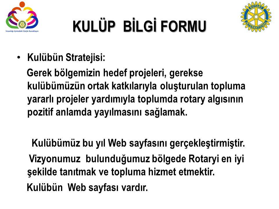 KULÜP BİLGİ FORMU Kulübün Stratejisi: