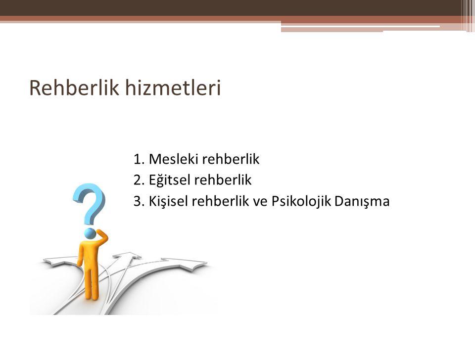Rehberlik hizmetleri 1. Mesleki rehberlik 2. Eğitsel rehberlik 3.