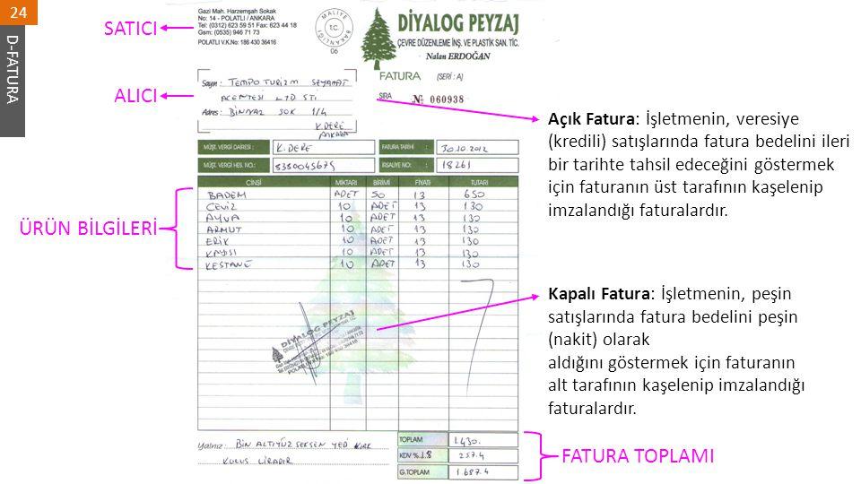 SATICI ALICI ÜRÜN BİLGİLERİ FATURA TOPLAMI