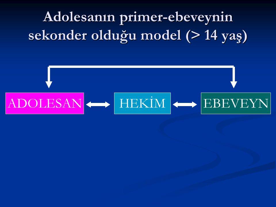 Adolesanın primer-ebeveynin sekonder olduğu model (> 14 yaş)