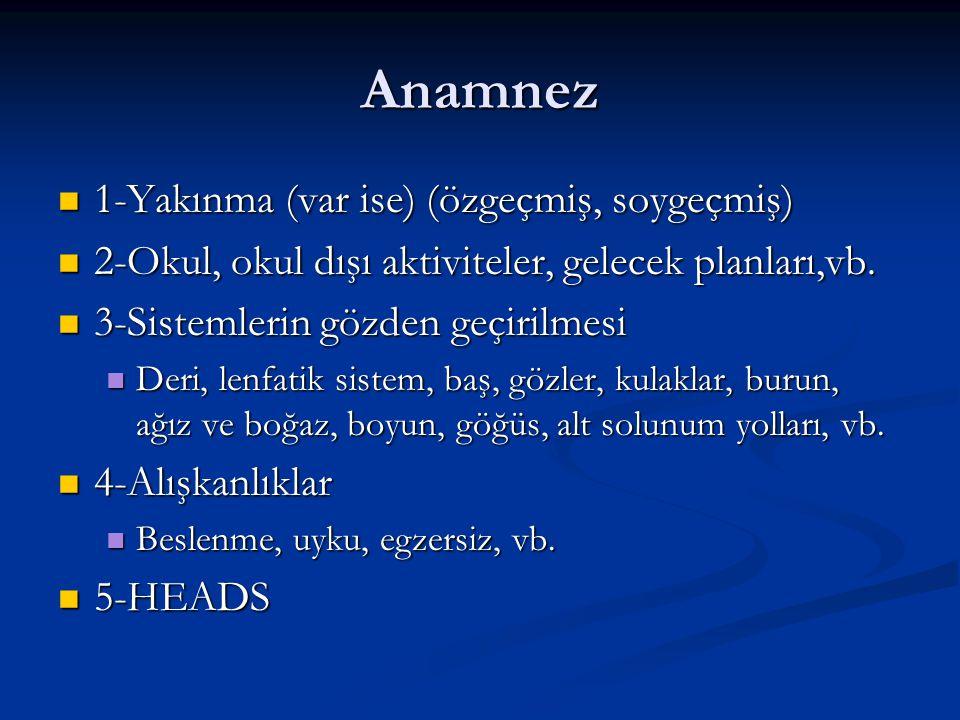 Anamnez 1-Yakınma (var ise) (özgeçmiş, soygeçmiş)