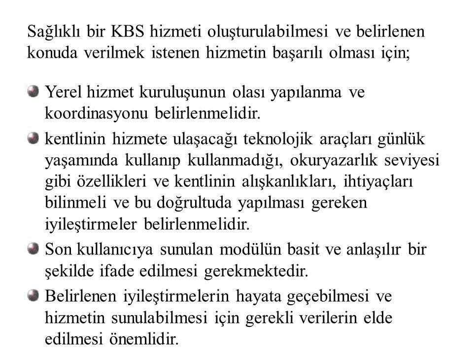 Sağlıklı bir KBS hizmeti oluşturulabilmesi ve belirlenen konuda verilmek istenen hizmetin başarılı olması için;