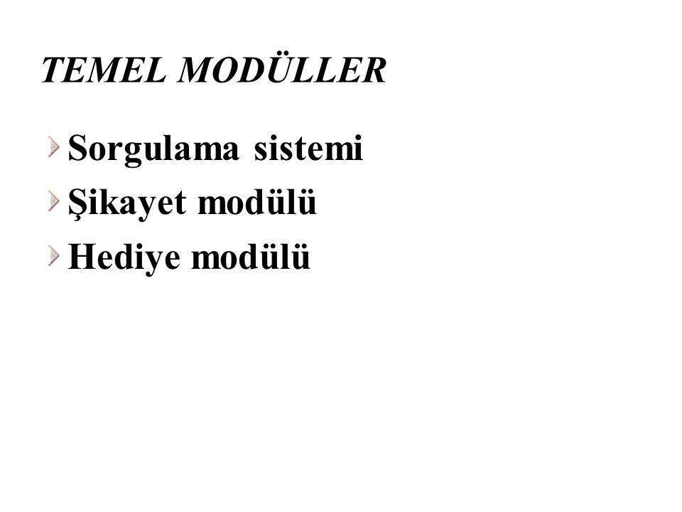 TEMEL MODÜLLER Sorgulama sistemi Şikayet modülü Hediye modülü