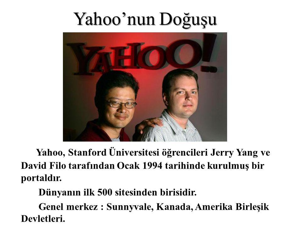 Yahoo'nun Doğuşu Yahoo, Stanford Üniversitesi öğrencileri Jerry Yang ve David Filo tarafından Ocak 1994 tarihinde kurulmuş bir portaldır.