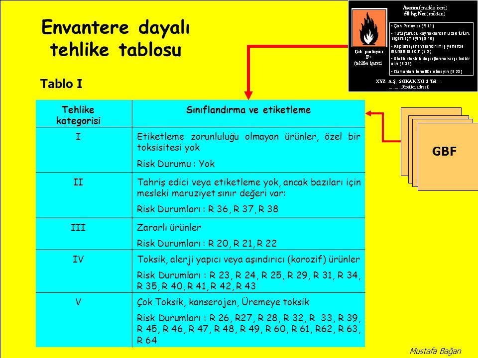 Envantere dayalı tehlike tablosu Sınıflandırma ve etiketleme
