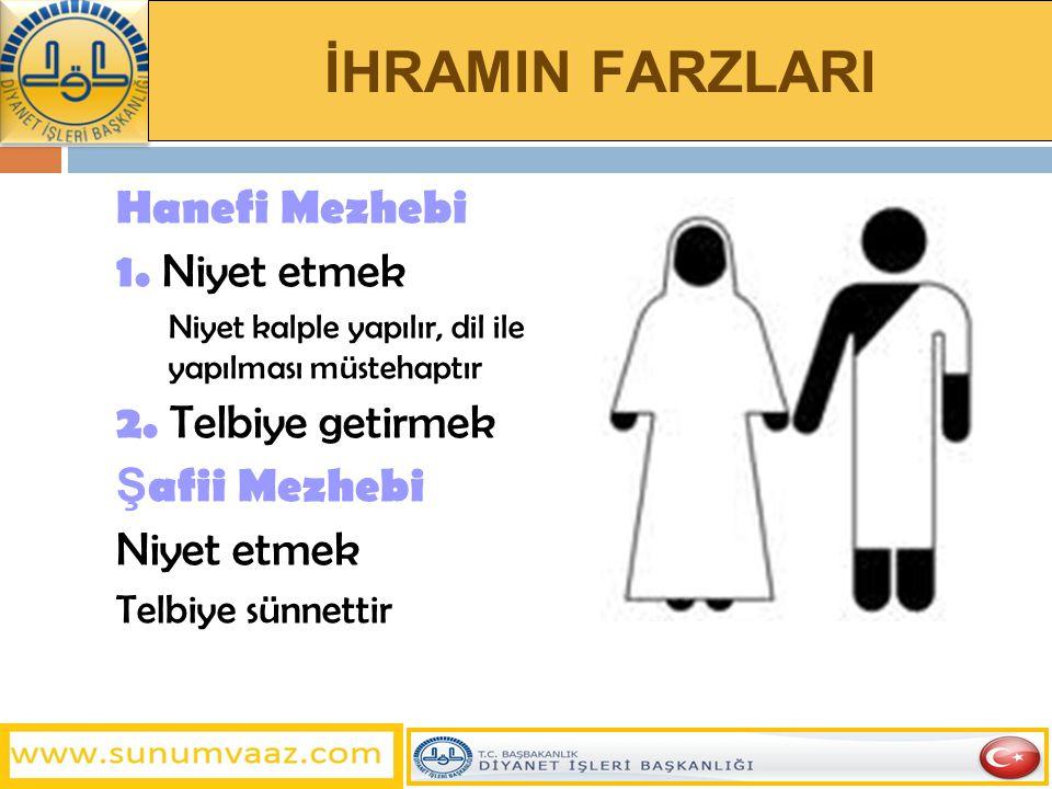 İHRAMIN FARZLARI Hanefi Mezhebi 1. Niyet etmek 2. Telbiye getirmek