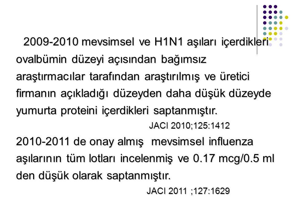 2009-2010 mevsimsel ve H1N1 aşıları içerdikleri