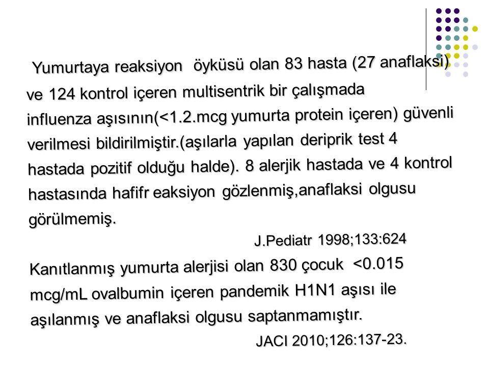 Yumurtaya reaksiyon öyküsü olan 83 hasta (27 anaflaksi)