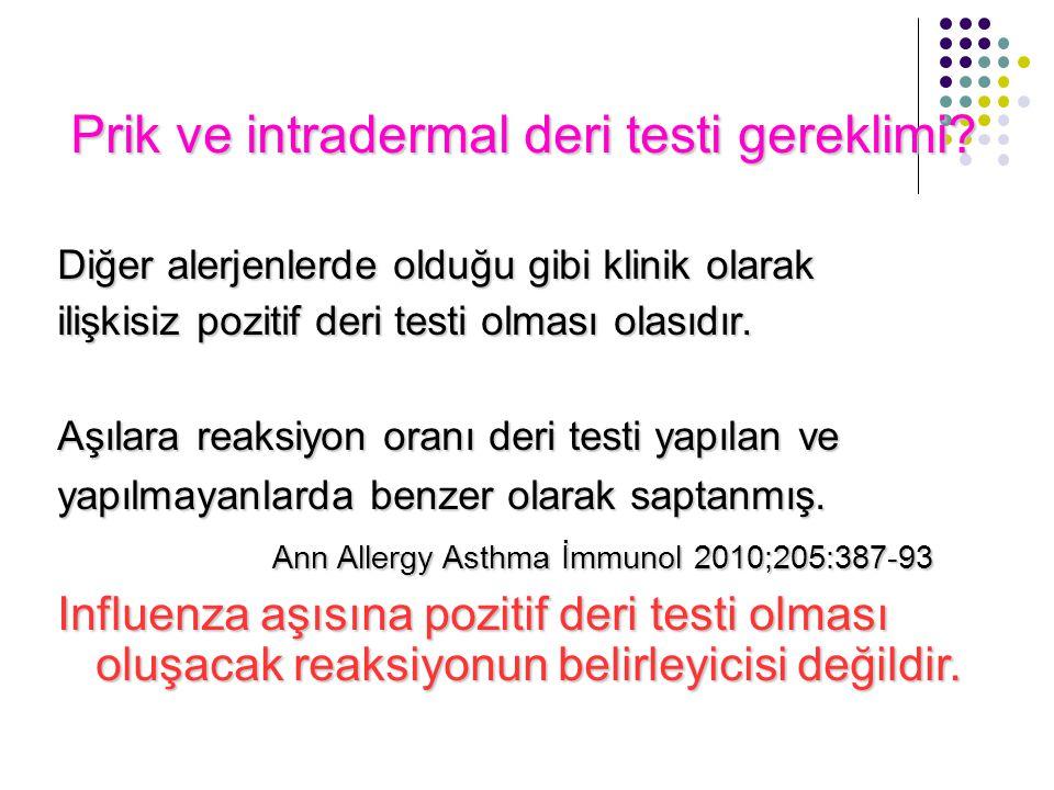 Prik ve intradermal deri testi gereklimi