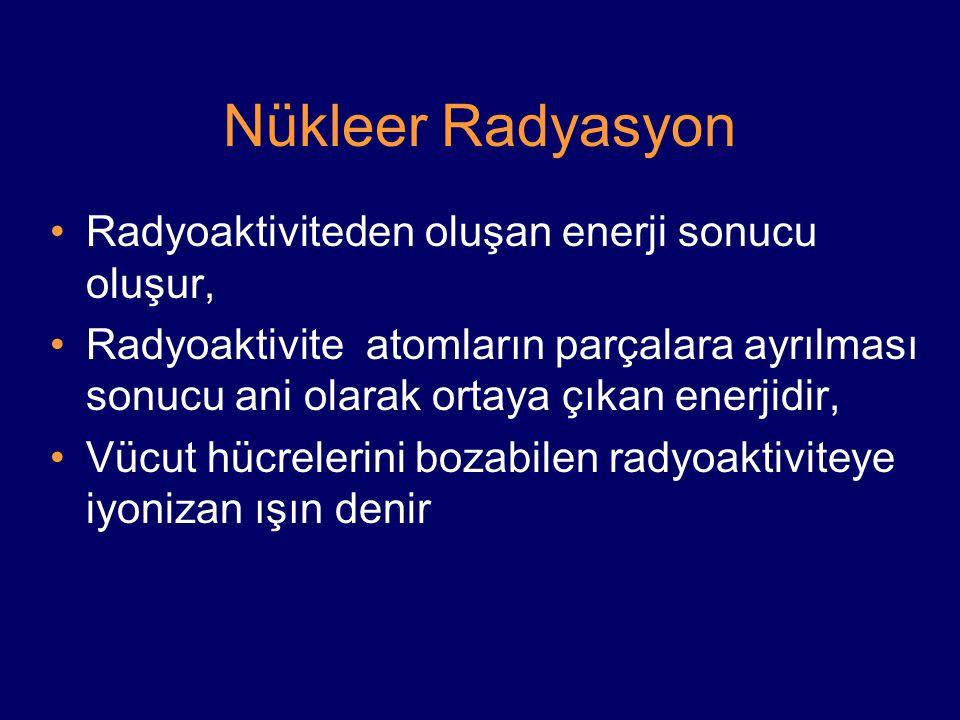Nükleer Radyasyon Radyoaktiviteden oluşan enerji sonucu oluşur,