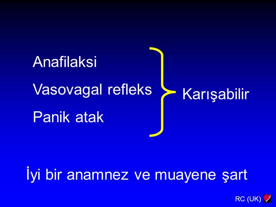 Anafilaksi Vasovagal refleks Panik atak Karışabilir İyi bir anamnez ve muayene şart