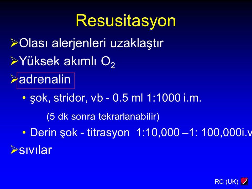 Resusitasyon Olası alerjenleri uzaklaştır Yüksek akımlı O2 adrenalin