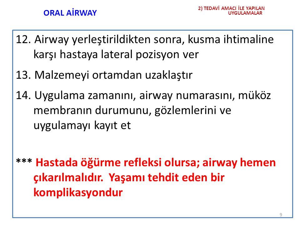 ORAL AİRWAY Airway kıvrımlı kısmı yukarıda olacak şekilde tutularak, ağız içine yerleştirilir.