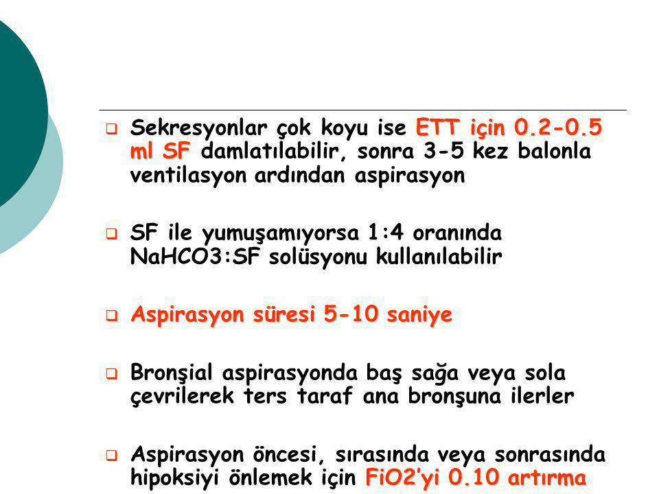 Sekresyonlar çok koyu ise ETT için 0. 2-0