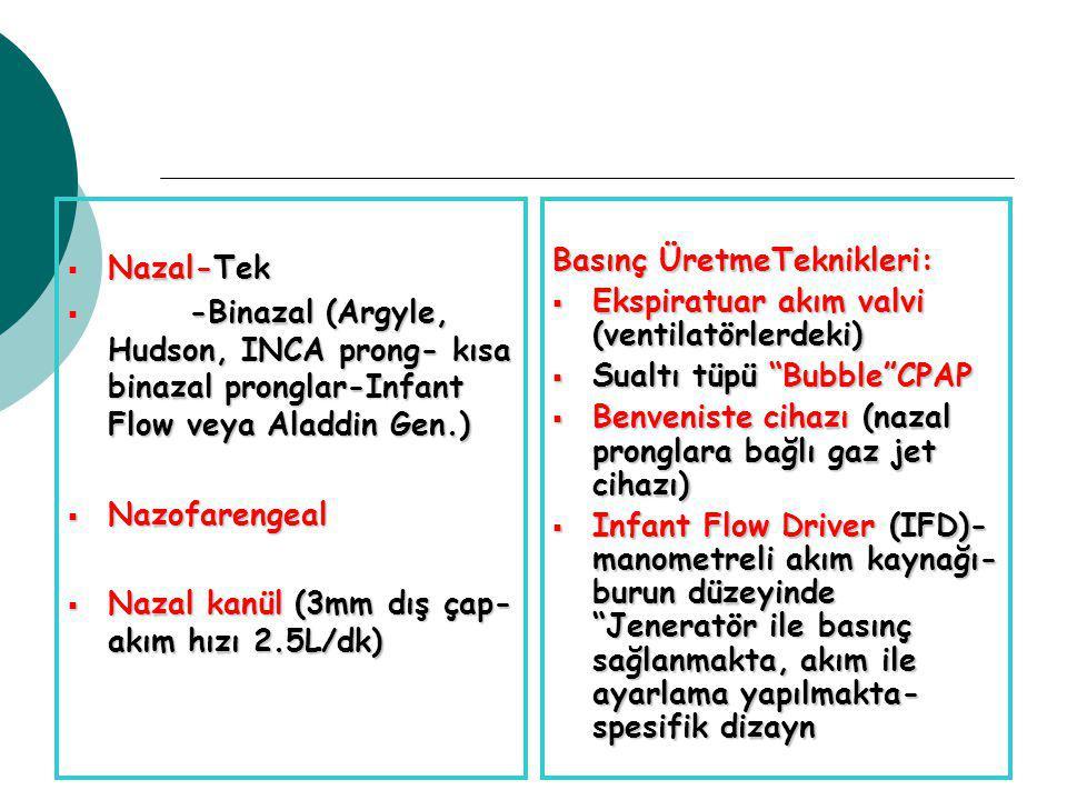 Nazal-Tek -Binazal (Argyle, Hudson, INCA prong- kısa binazal pronglar-Infant Flow veya Aladdin Gen.)