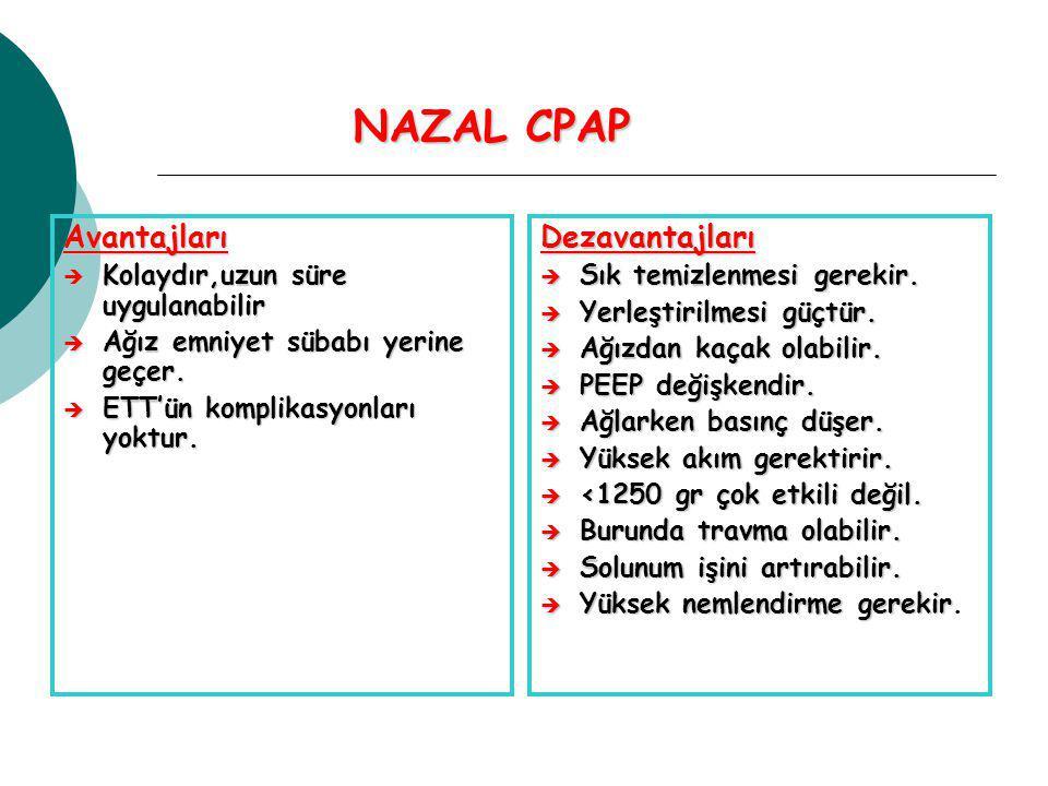 NAZAL CPAP Avantajları Dezavantajları Kolaydır,uzun süre uygulanabilir