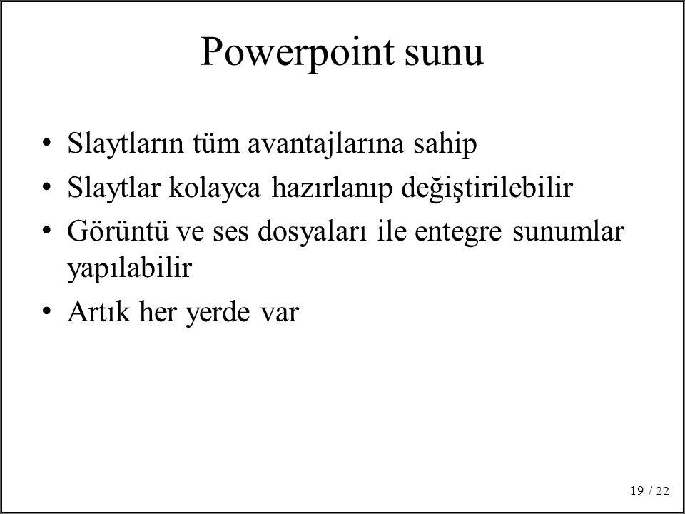 Powerpoint sunu Slaytların tüm avantajlarına sahip