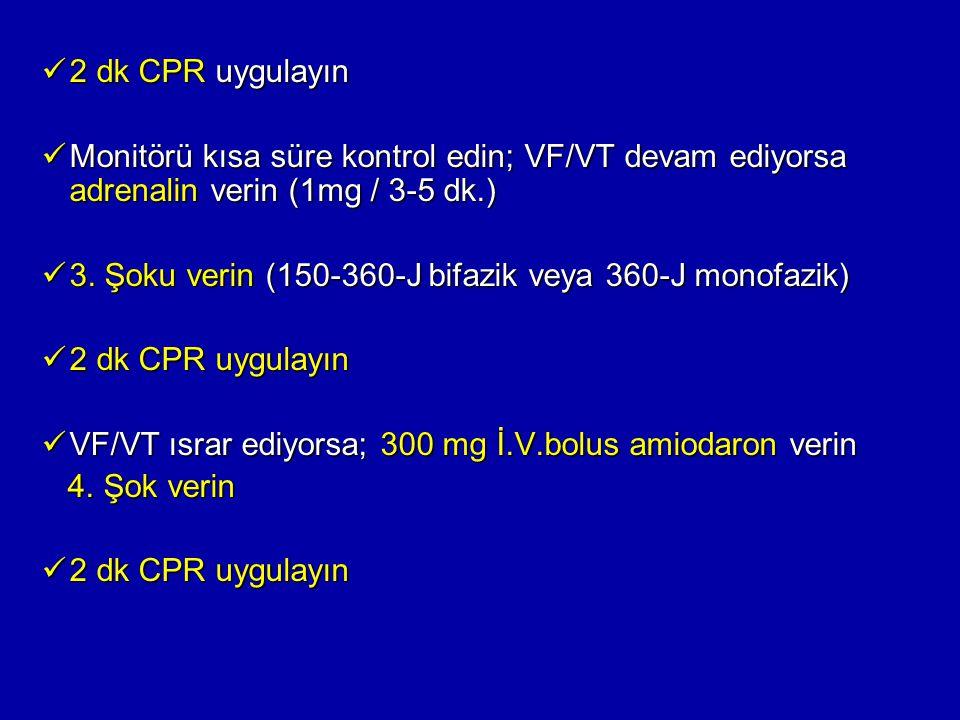 2 dk CPR uygulayın Monitörü kısa süre kontrol edin; VF/VT devam ediyorsa adrenalin verin (1mg / 3-5 dk.)