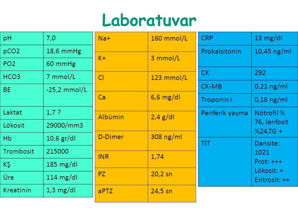 Laboratuvar pH 7,0 pCO2 18,6 mmHg PO2 60 mmHg HCO3 7 mmol/L BE