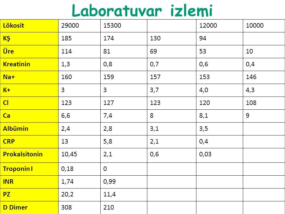 Laboratuvar izlemi Lökosit 29000 15300 12000 10000 KŞ 185 174 130 94