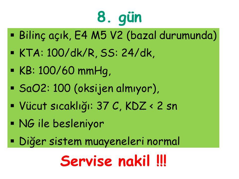 8. gün Servise nakil !!! Bilinç açık, E4 M5 V2 (bazal durumunda)