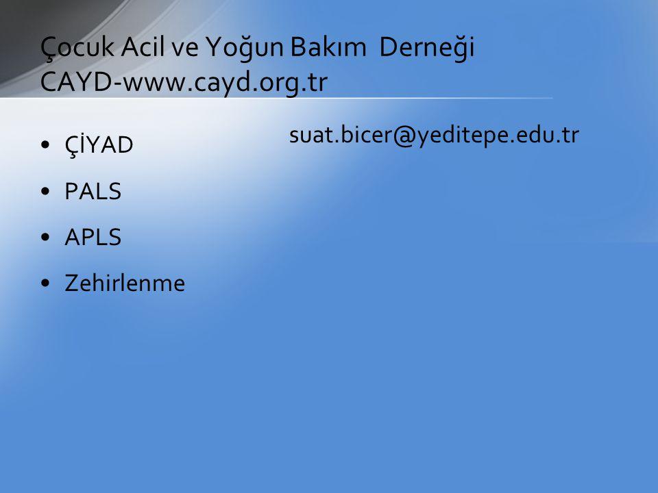 Çocuk Acil ve Yoğun Bakım Derneği CAYD-www.cayd.org.tr