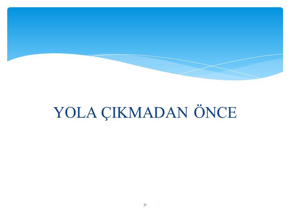 YOLA ÇIKMADAN ÖNCE