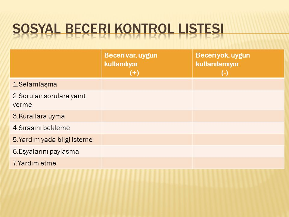 Sosyal beceri kontrol listesi